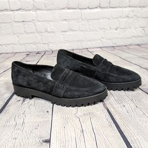 Via Spiga Gavin Black Suede Platform Loafers Shoes